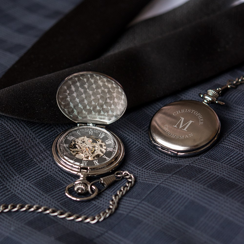 Personalized Gunmetal Mechanical Pocket Watch & Fob - Wrap Text Monogram