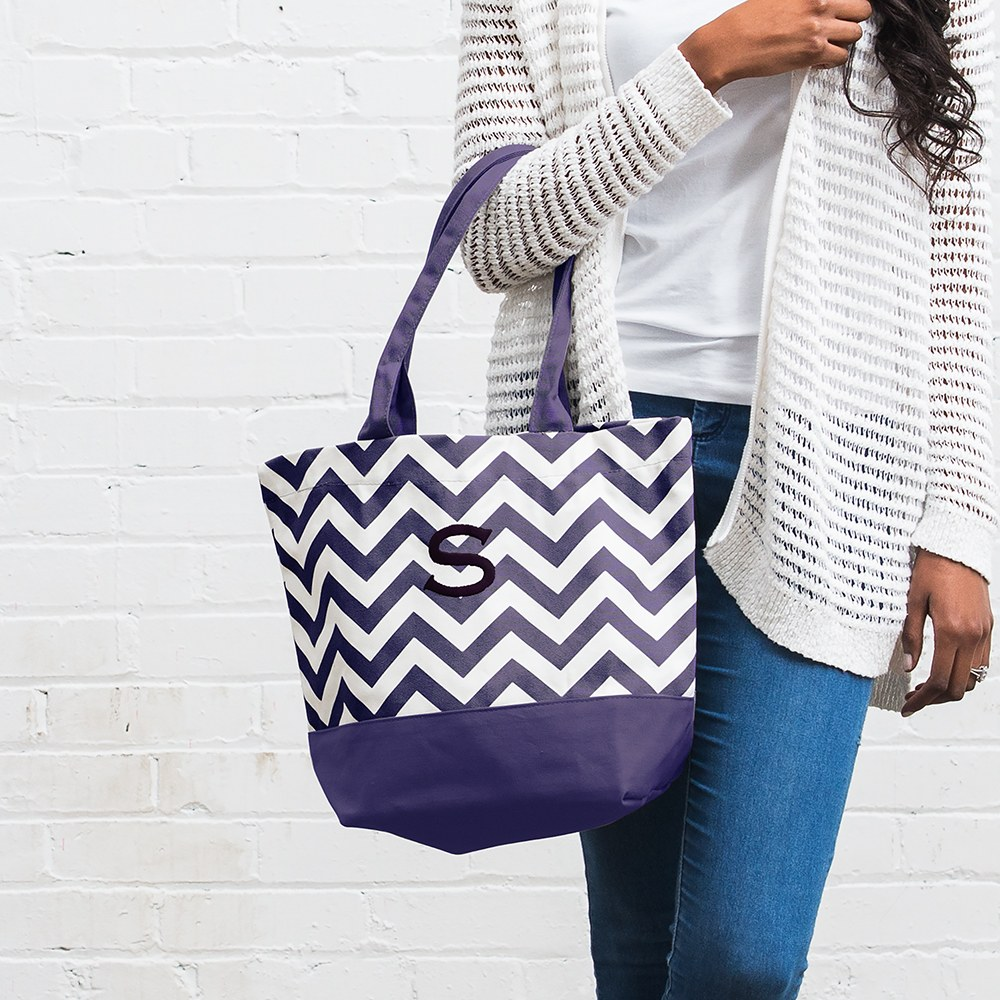Chevron Canvas Tote Grape