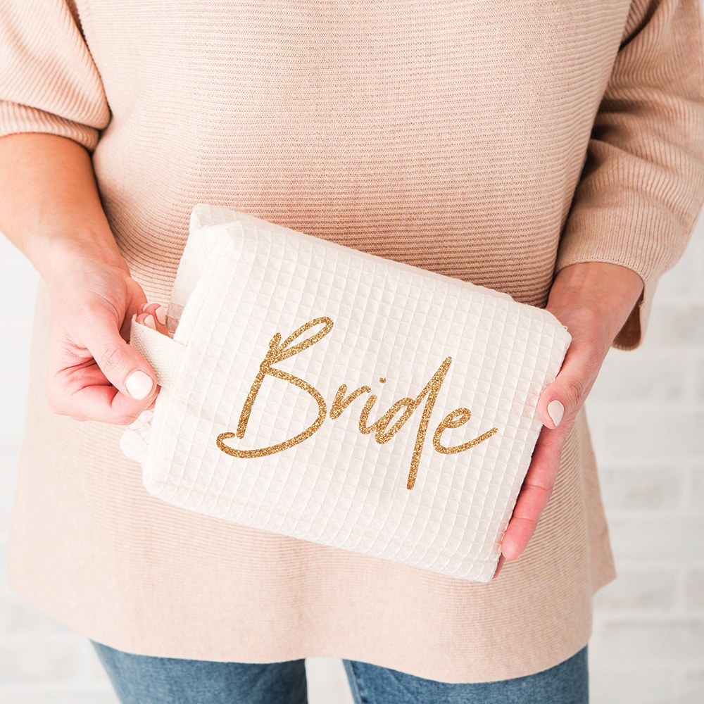 Women's Personalized Cotton Waffle Makeup Bag - Bride