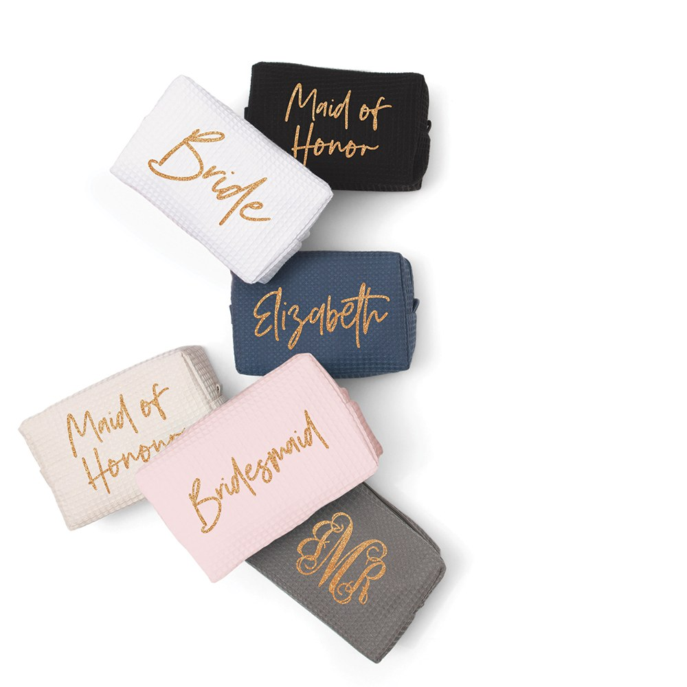 Women's Personalized Cotton Waffle Makeup Bag - Maid of Honor