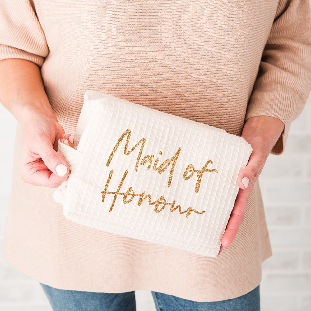 Women's Personalized Cotton Waffle Makeup Bag - Maid of Honour