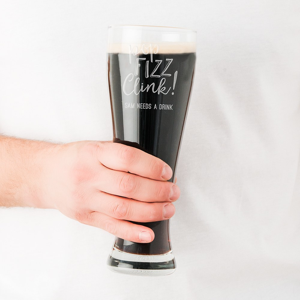 Personalized Large Pilsner Glass – Pop Fizz Clink Engraving