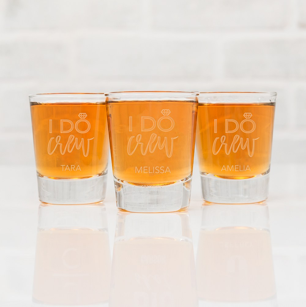 Personalized Clear 1 oz. Shot Glass - I Do Crew