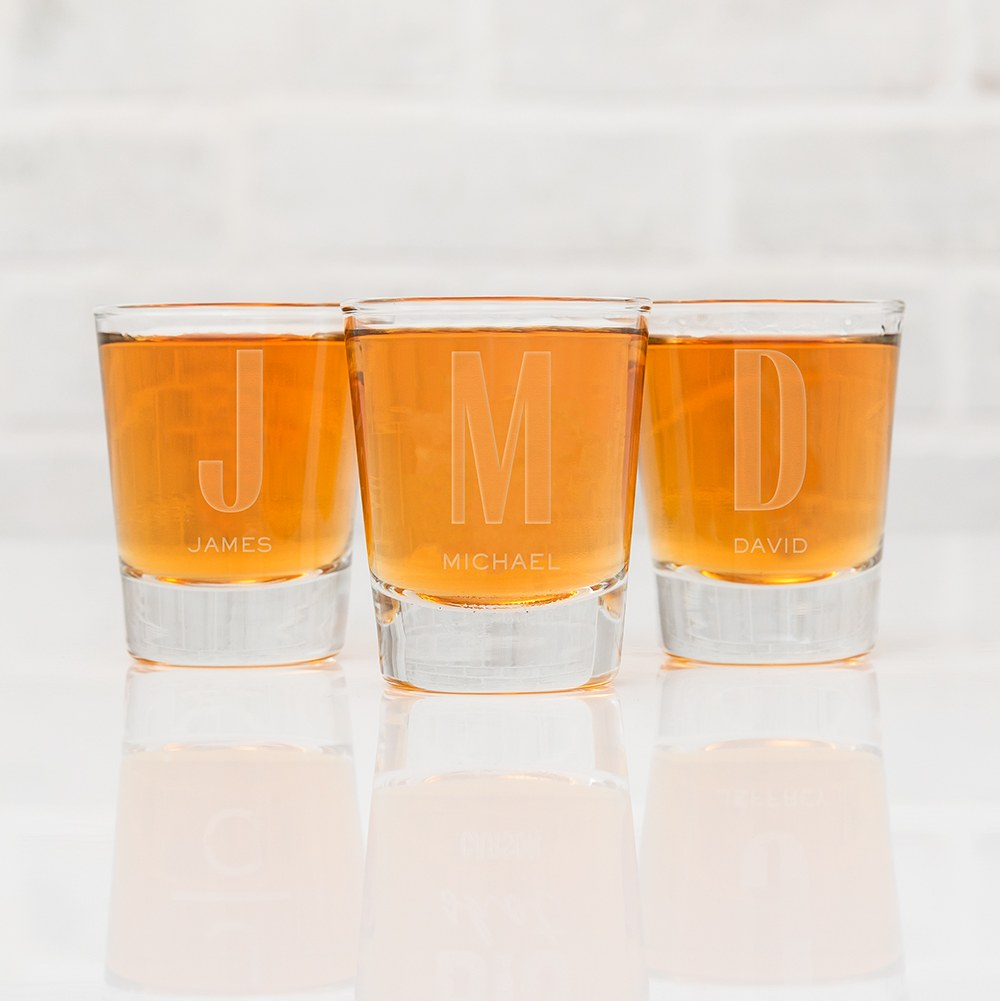 Personalized Clear 1 oz. Shot Glass - Sans Serif Monogram