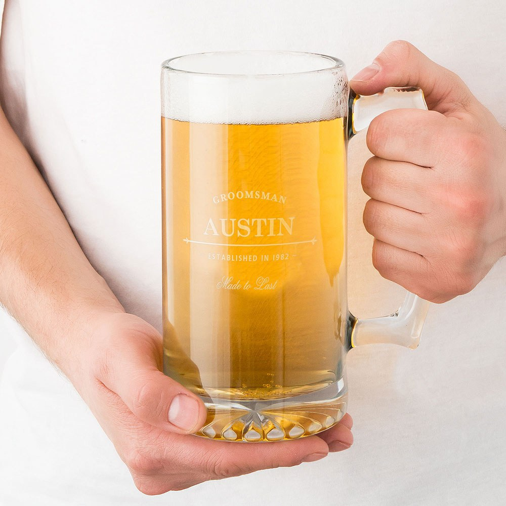 Personalized Large Glass Beer Mug – Established Groomsman and Best Man Engraving