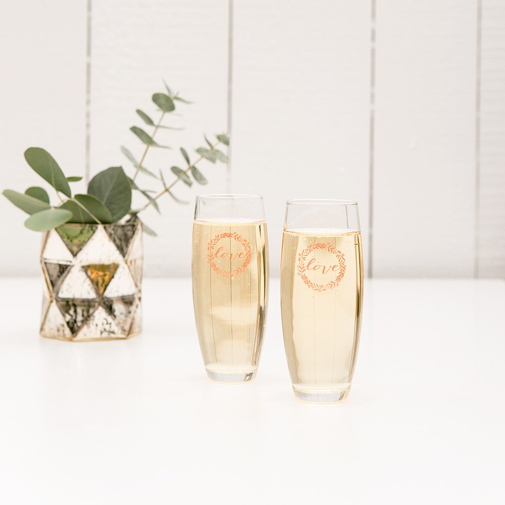 Personalized Stemless Toasting Champagne Flute Wedding Favor Gift