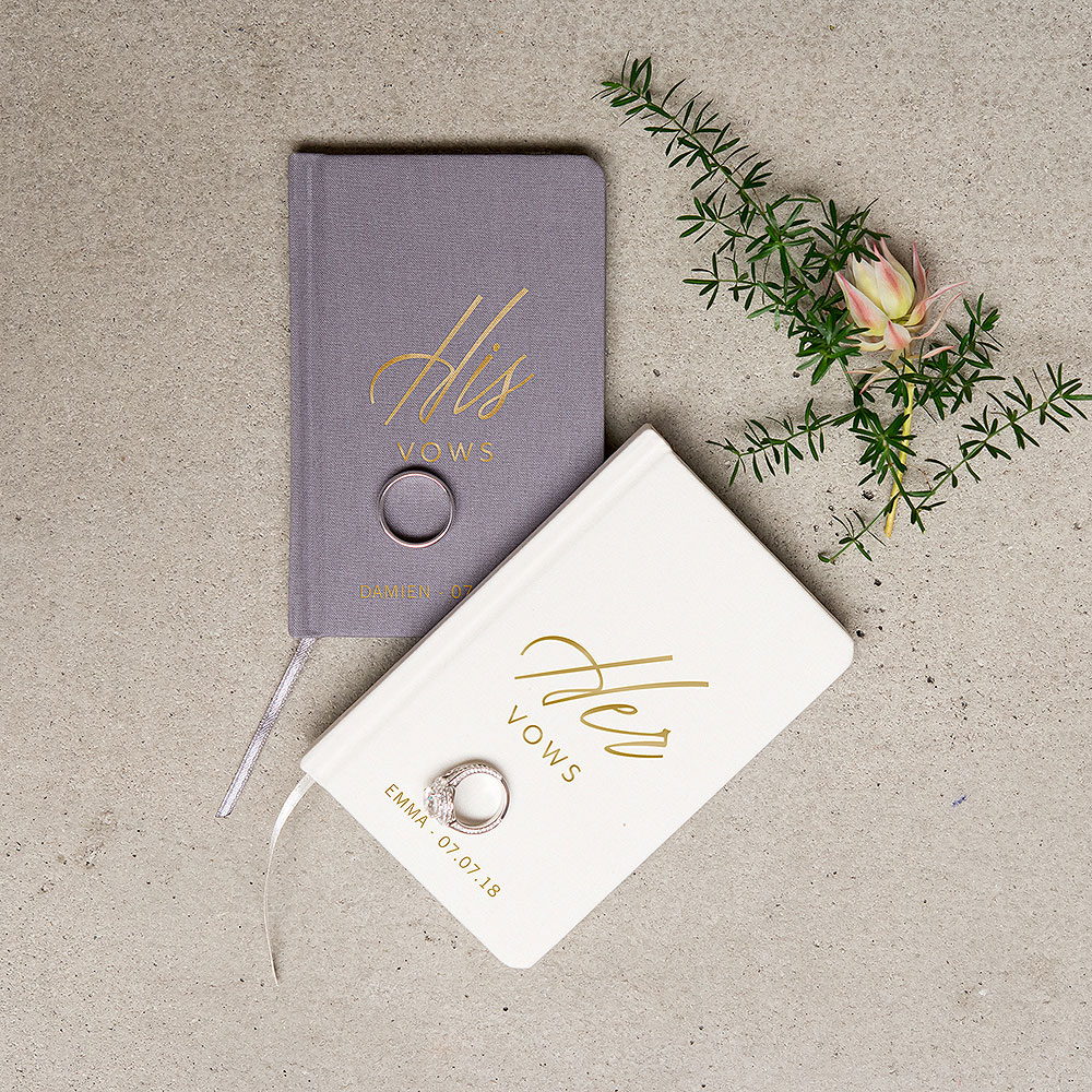 Personalized Charcoal Gray Vow Pocket Notebook – His Vows
