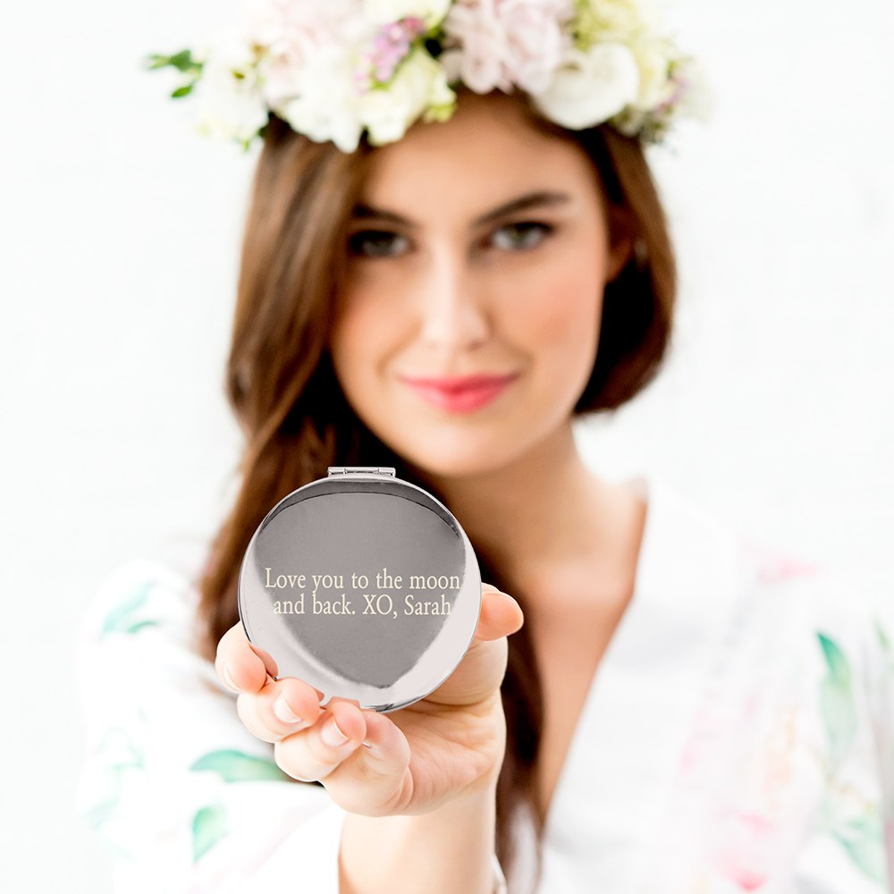 Personalized Engraved Bridal Party Pocket Compact Mirror - Flower Girl Garden Party