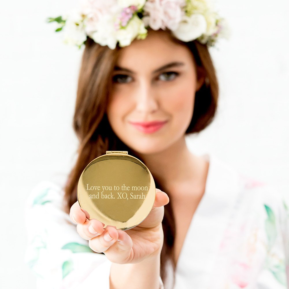 Personalized Engraved Bridal Party Compact Mirror - Gold Wreath
