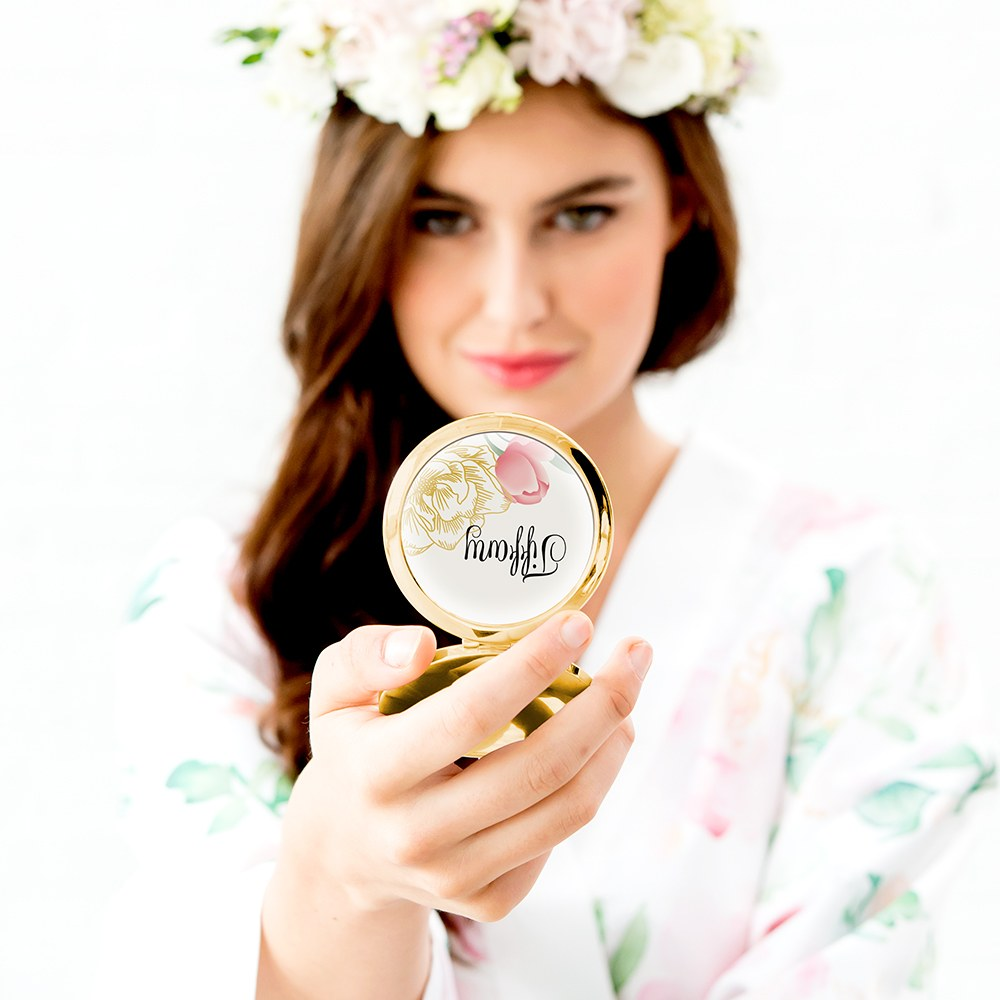 Personalized Engraved Bridal Party Compact Mirror - Modern Floral