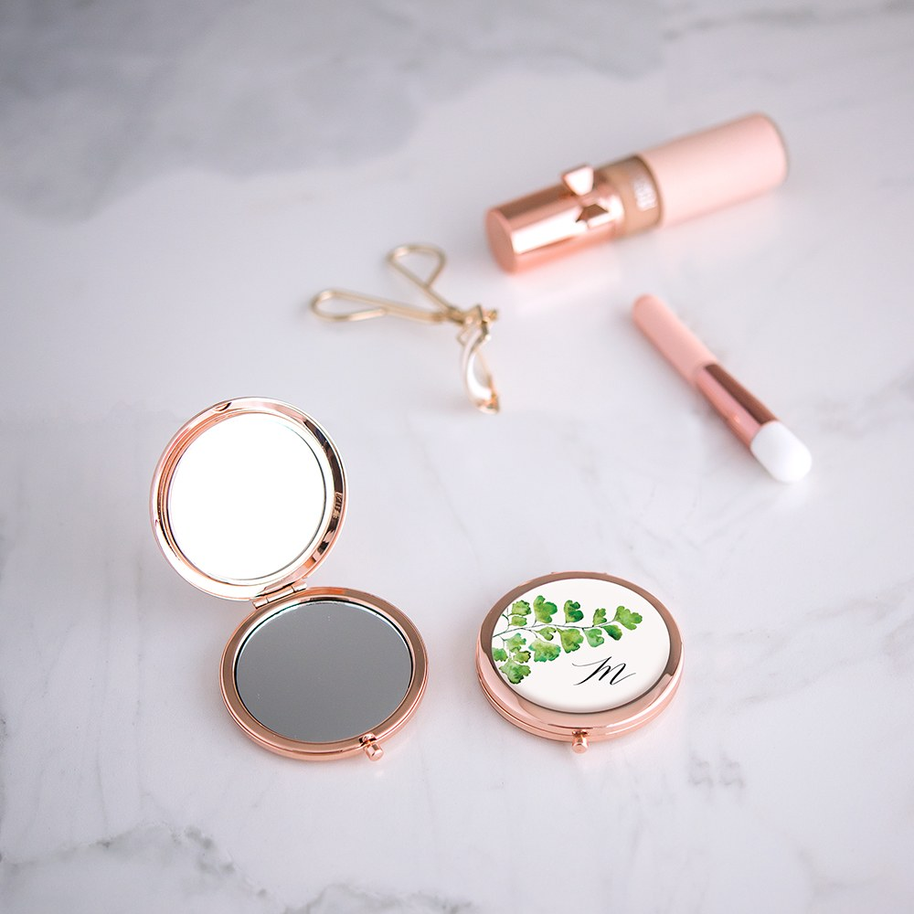 Personalized Engraved Bridal Party Pocket Compact Mirror - Monogram Greenery