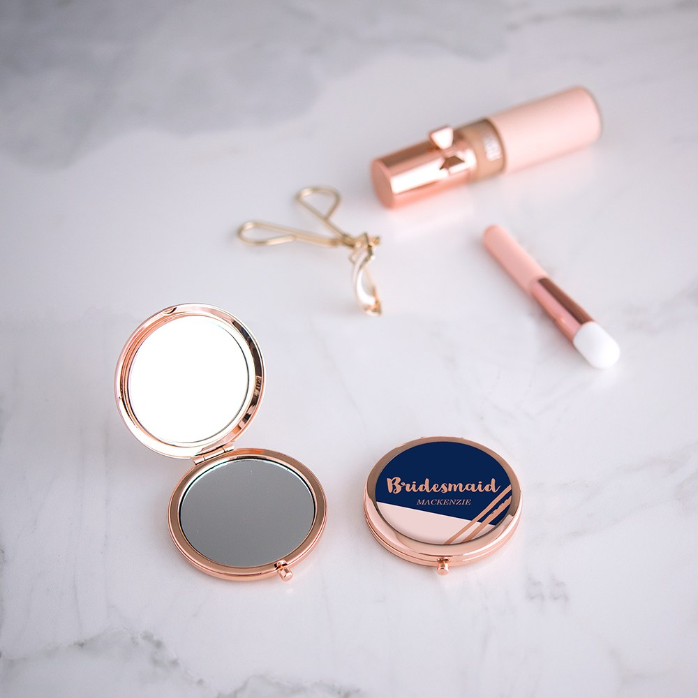 Personalized Engraved Bridal Party Pocket Compact Mirror - Retro Luxe Navy
