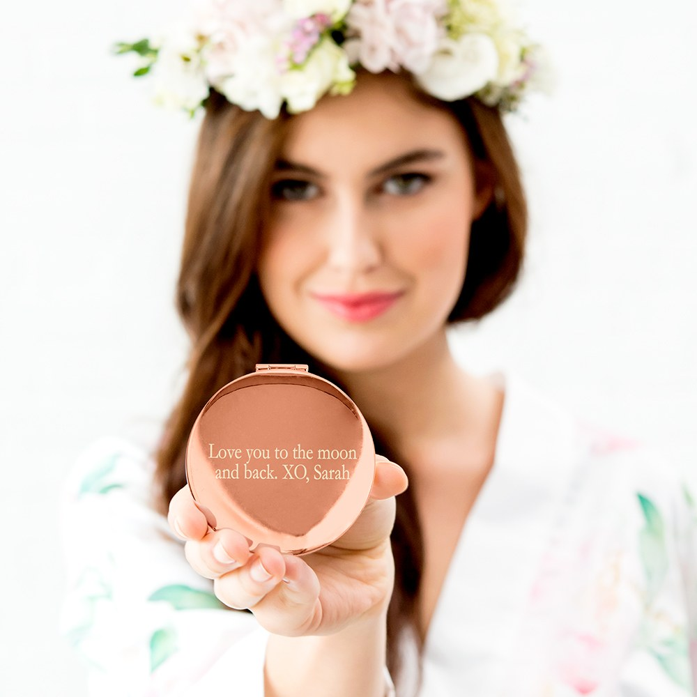Personalized Engraved Bridal Party Pocket Compact Mirror - Retro Luxe