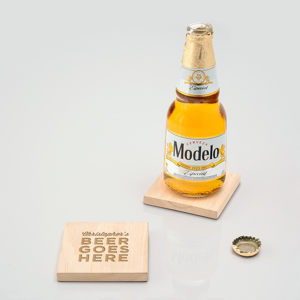 Natural Wood Coaster with Built-in Bottle Opener - Beer Goes Here Etching
