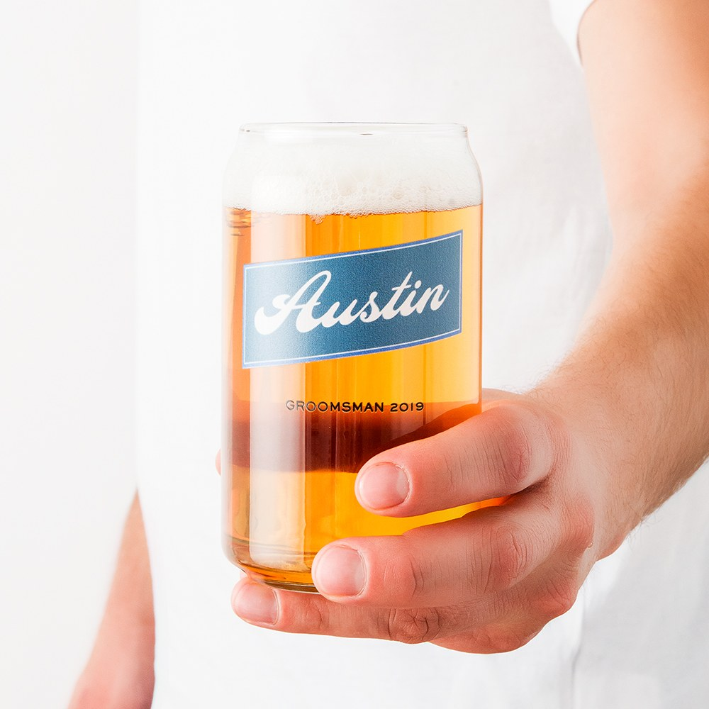 Personalized Can Shaped Drinking Glass – Vintage Cursive Print
