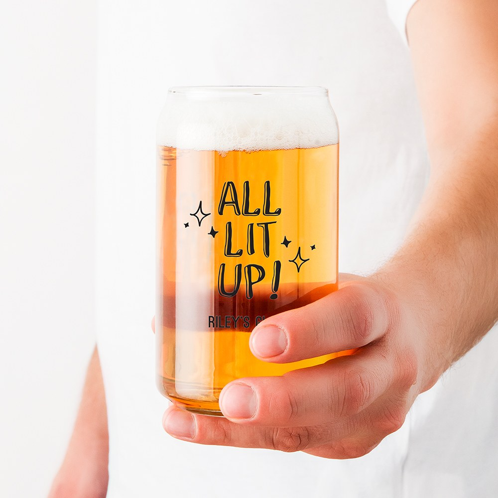 Personalized Can Shaped Drinking Glass – All Lit Up Print