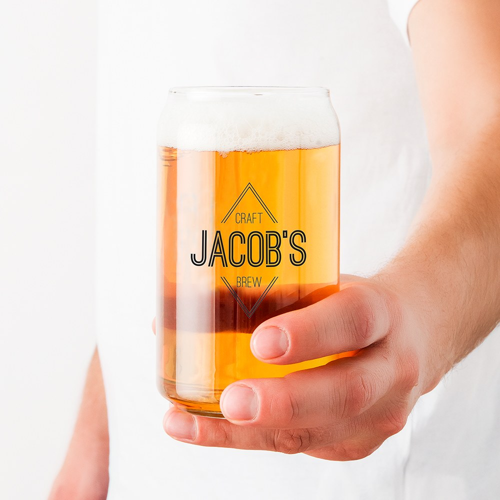 Personalized Can Shaped Drinking Glass – Diamond Emblem Print