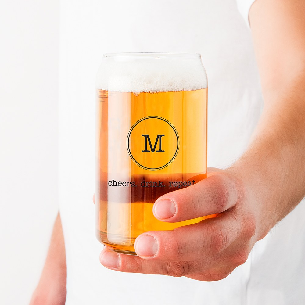 Personalized Can Shaped Drinking Glass – Circle Monogram Print
