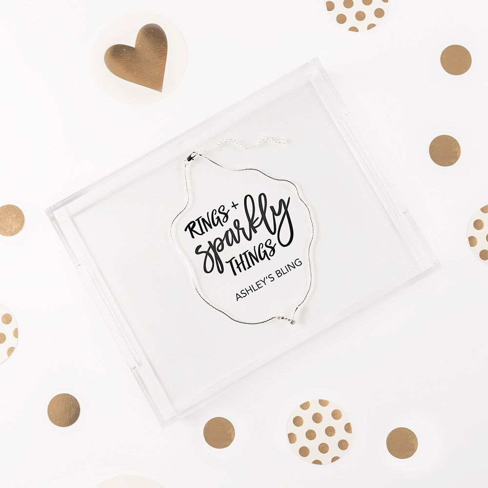 Small Personalized Rectangular Acrylic Tray – Rings + Sparkly Things Print