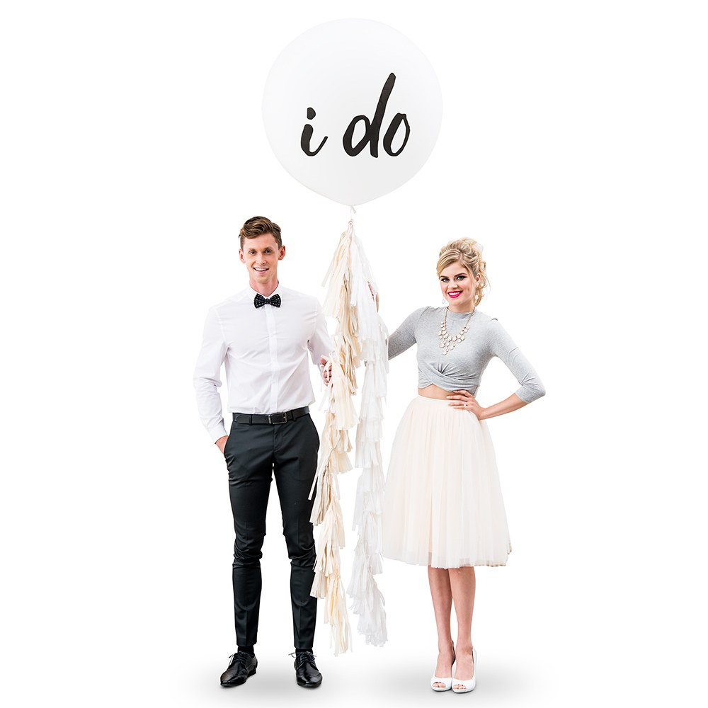 Jumbo White Round Wedding Balloon Decorations - I Do
