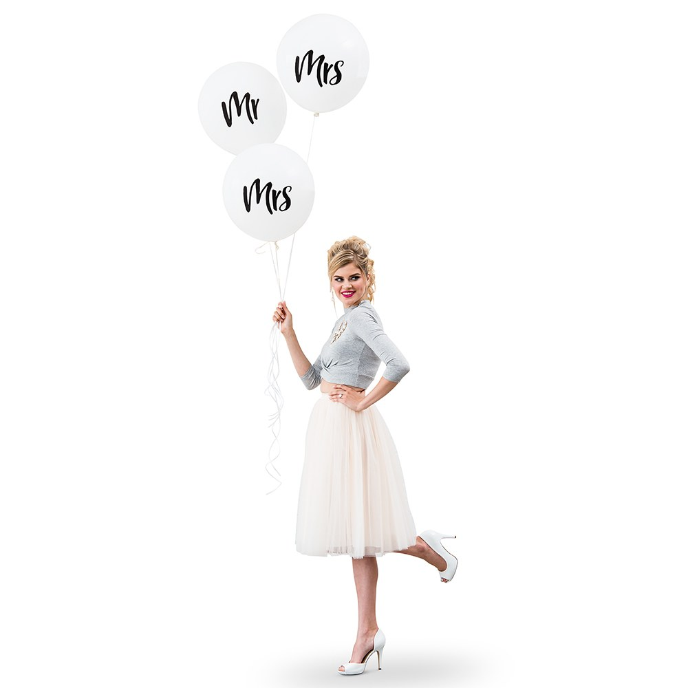 Large White Round Wedding Balloon Decorations - Mrs