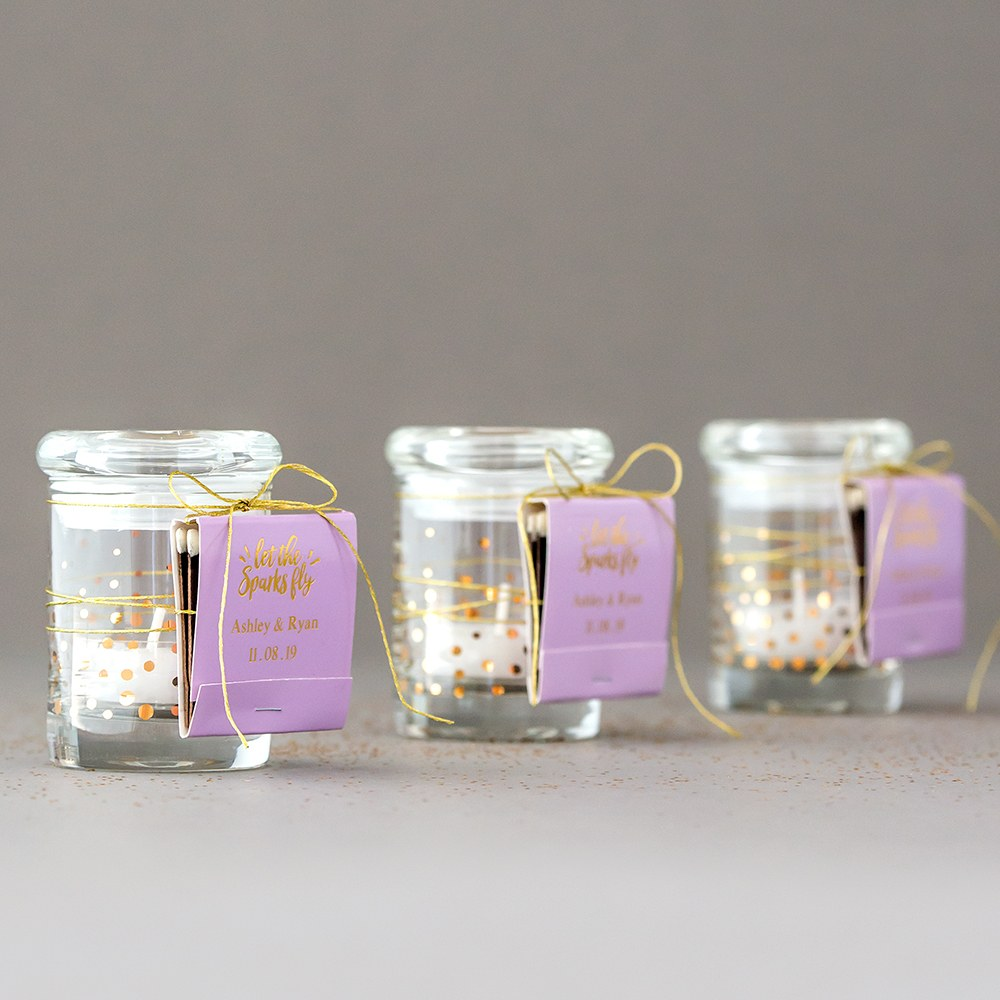 Gold Foil Confetti Small Glass Favor Jar