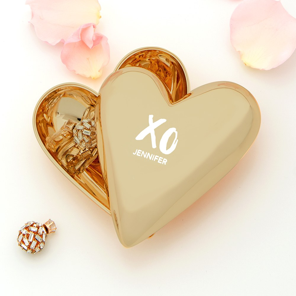 Small Personalized Gold Heart Jewelry Box - XO Engraving