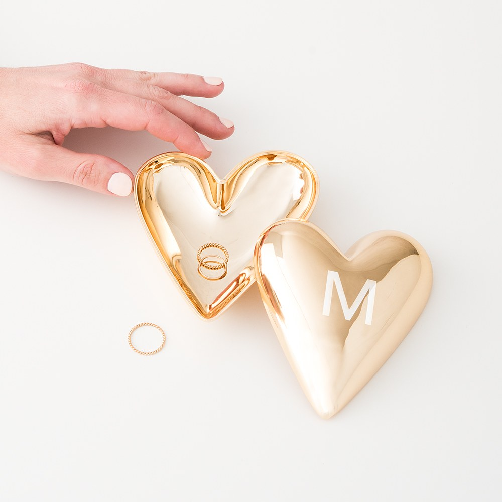 Small Personalized Gold Heart Jewelry Box - Custom Monogram Engraving