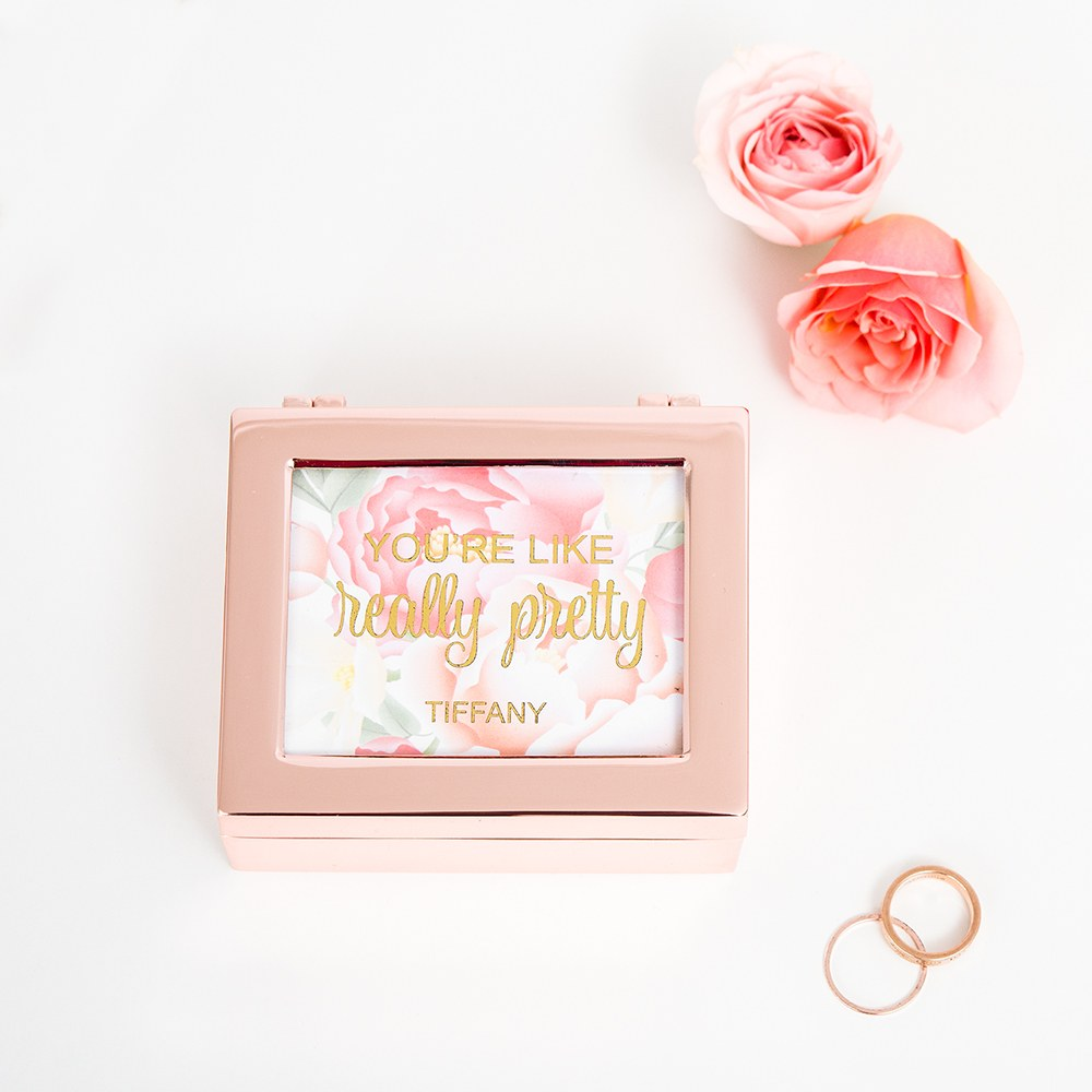 Small Personalized Modern Metal Jewelry Box - Really Pretty Floral Print