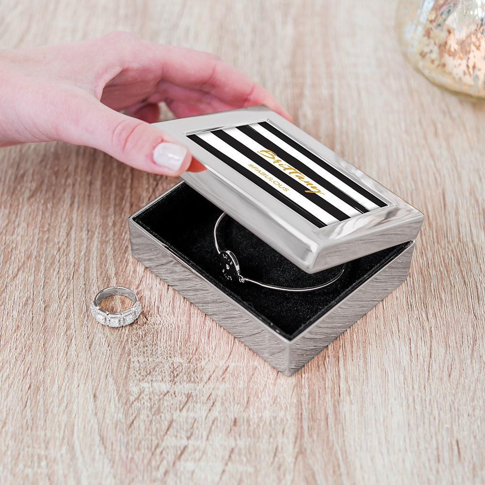 Small Personalized Modern Metal Jewelry Box - Striped Fabulous Print