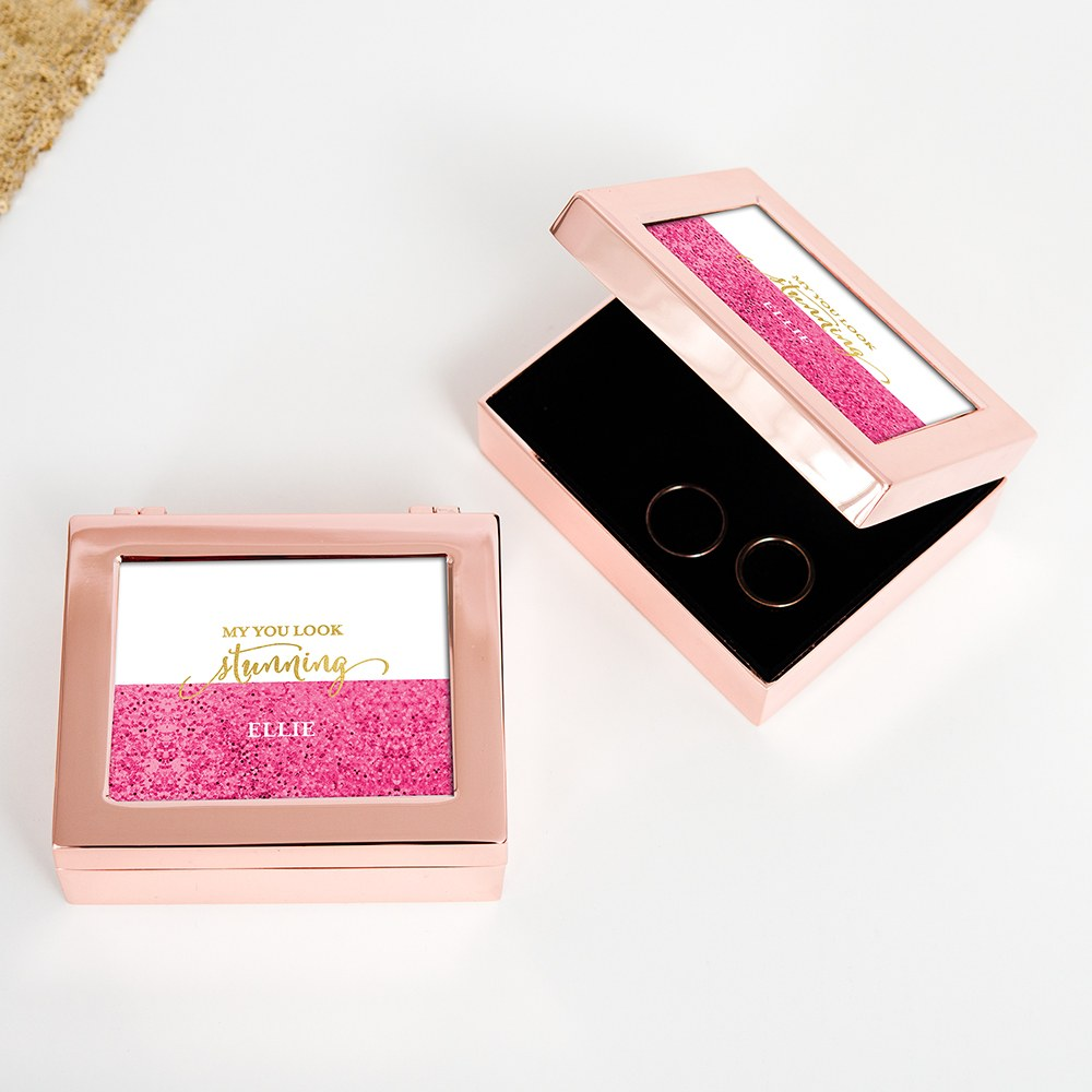 Small Personalized Modern Metal Jewelry Box - Stunning Glitter Foil Print
