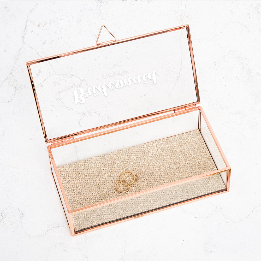Large Personalized Rectangle Glass Jewelry Box - Retro Luxe Cursive
