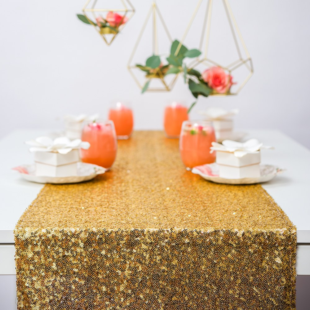 Modern Sparkle Sequin Table Runner - Bright Metallic Gold