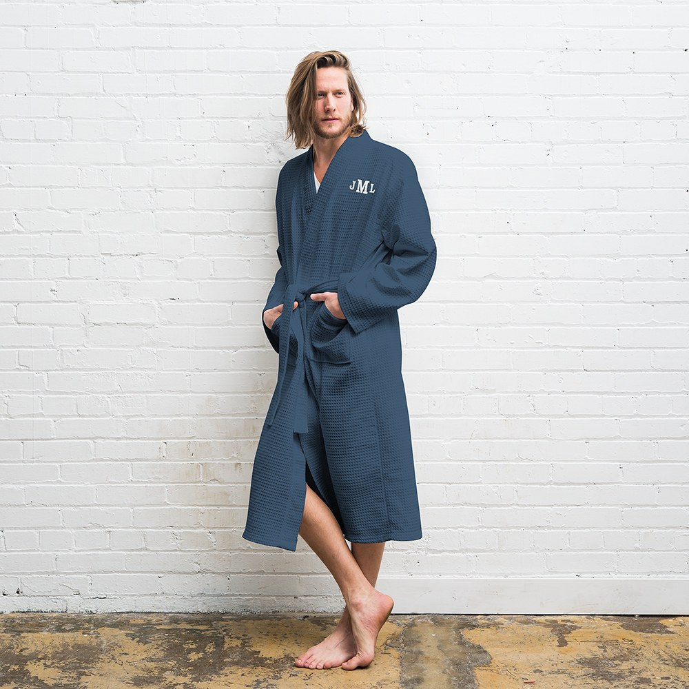 Men's Personalized Embroidered Long Waffle Robe - Navy Blue
