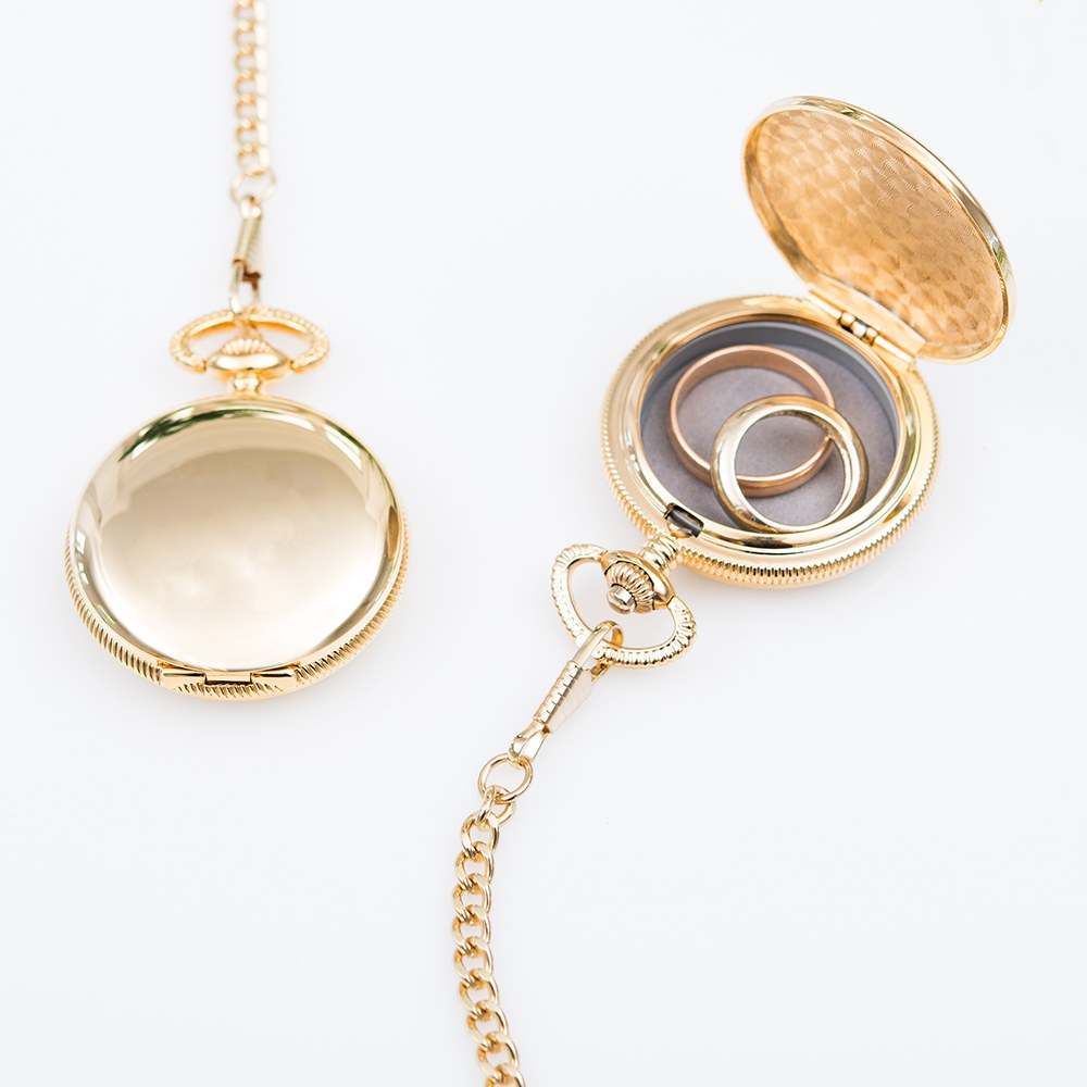Gold Pocket Wedding Ring Holder With Chain