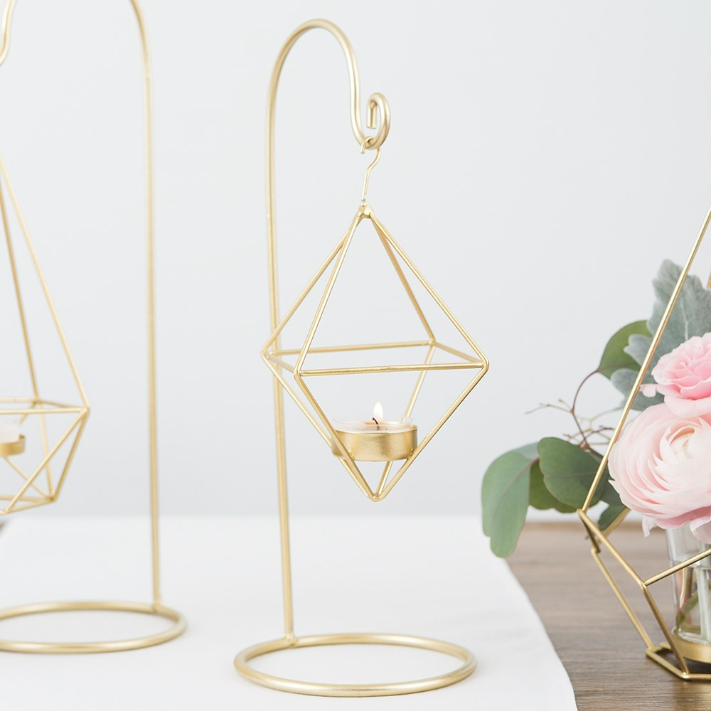 Small Gold Geometric Hanging Tealight Holder