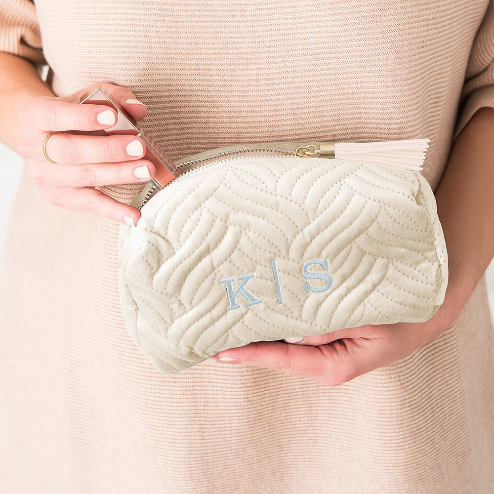 Quilted Velvet Travel Makeup Bag - Ivory Beige