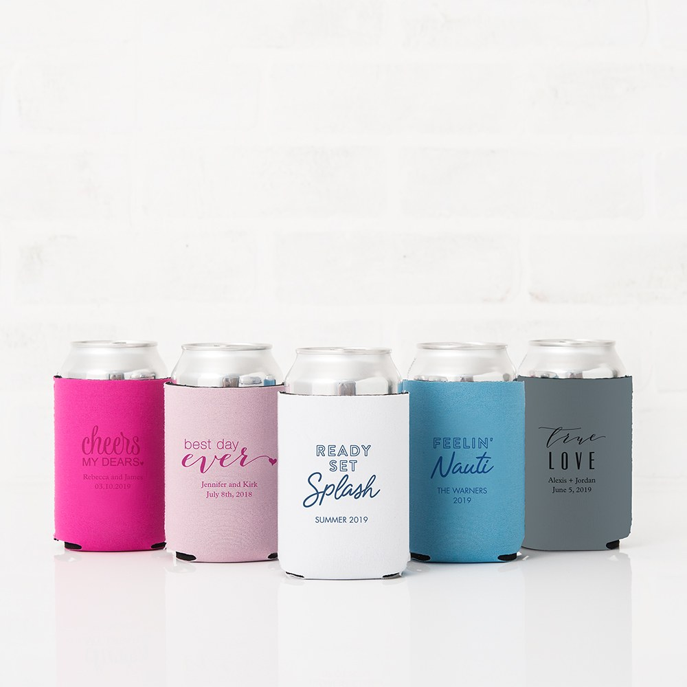 Custom Neoprene Foam Beer Can Party Koozie - Pastel Pink