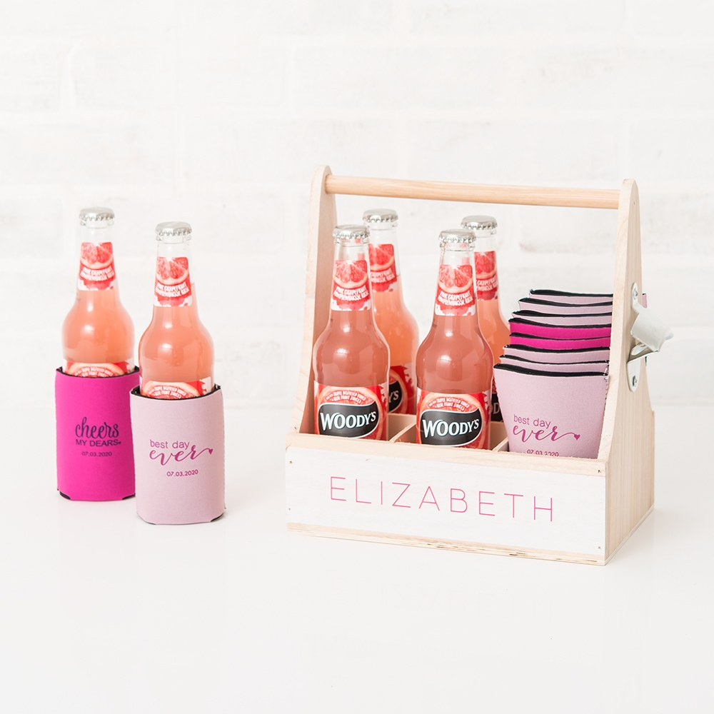 Custom Neoprene Foam Beer Can Party Koozie - Hot Pink