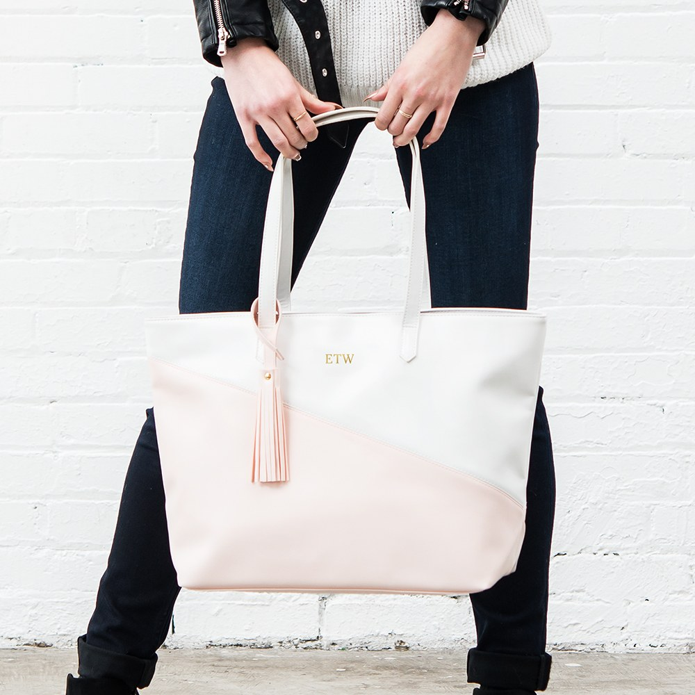 Faux Leather Color Block Tote Bag - Pink & White
