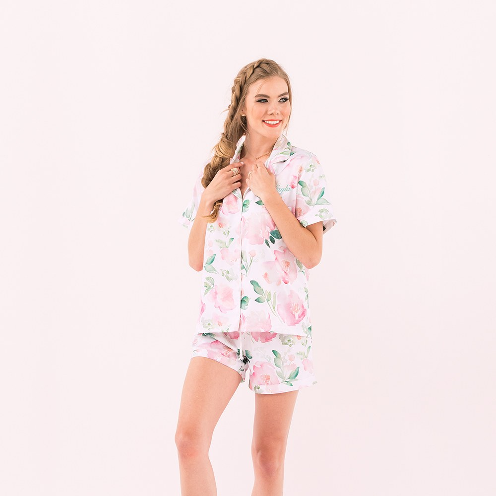 Women's Personalized Satin Pajama Sleepwear Set - Pink Floral