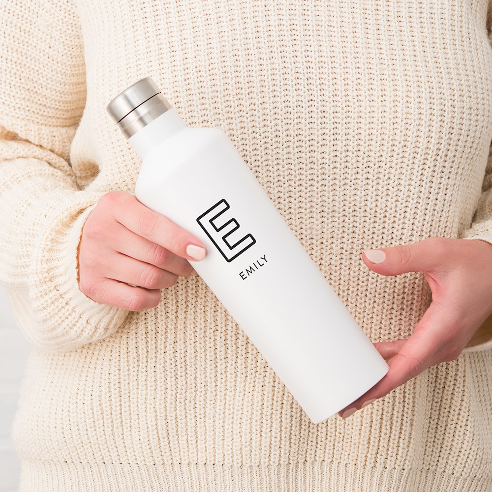 Stainless Steel Water Bottle - Modern Shape - Summer Vibes Monogram