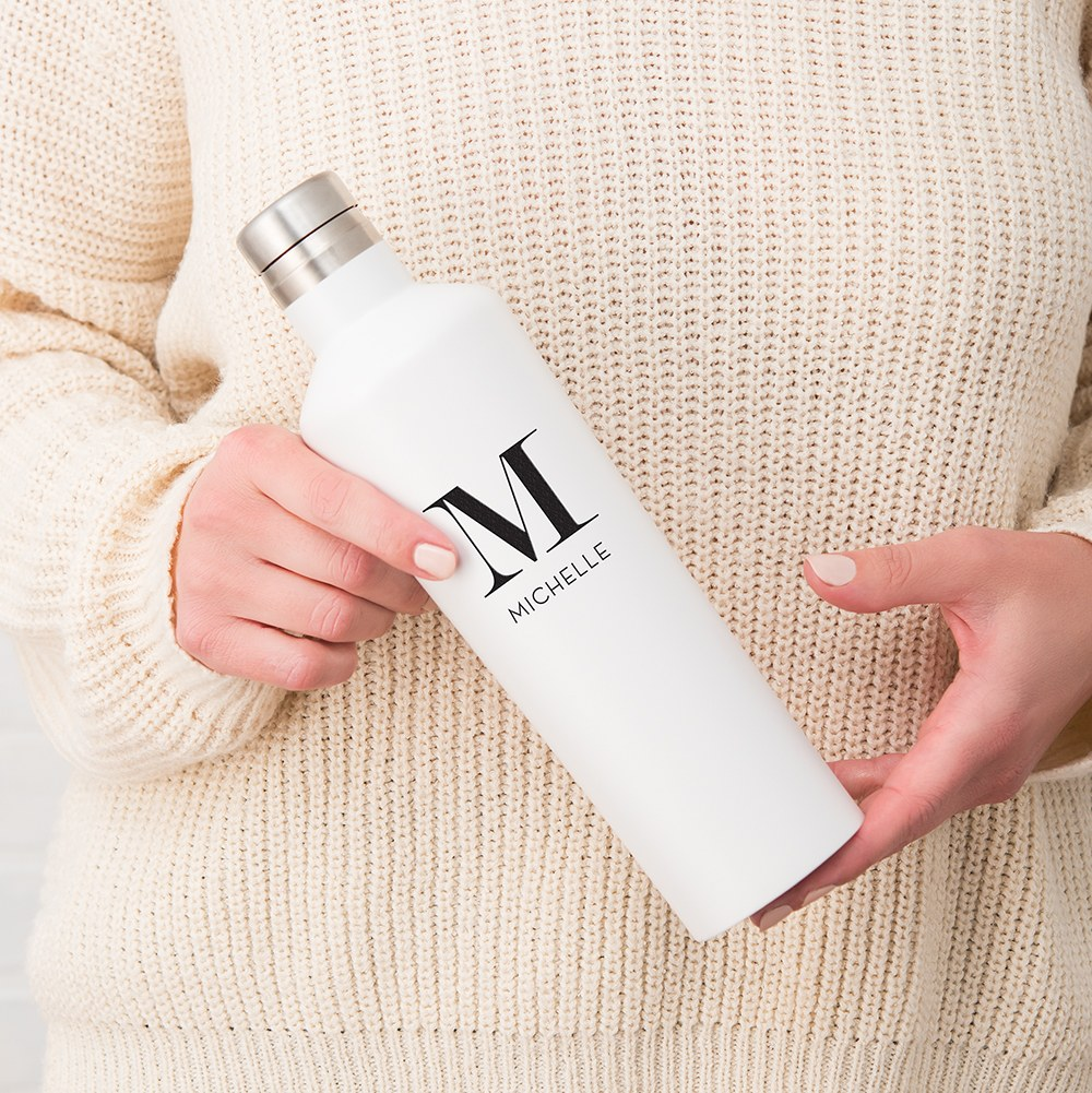 Stainless Steel Water Bottle - Modern Shape - Modern Serif Initial