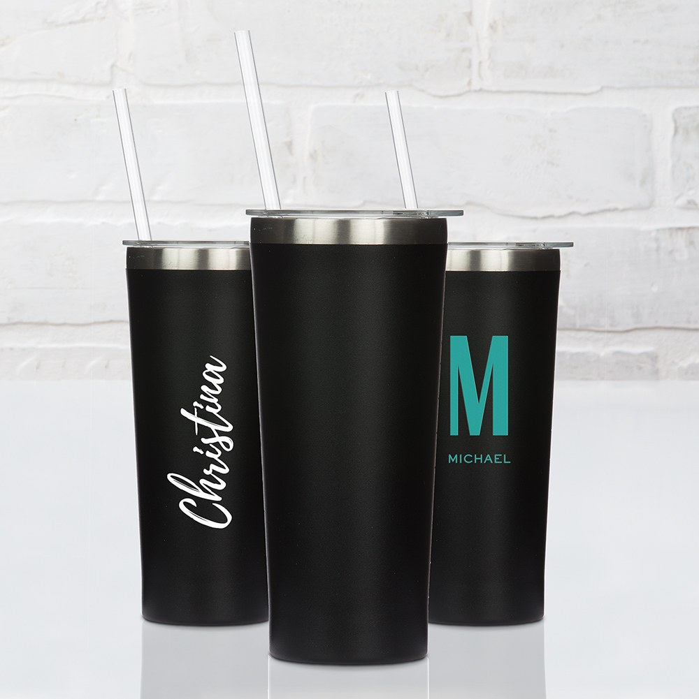 Black Stainless Steel Drink Tumbler