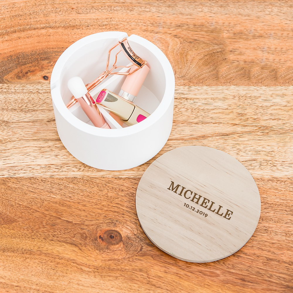 Large Personalized Round Wooden Jewelry Box - Classic Font Engraving