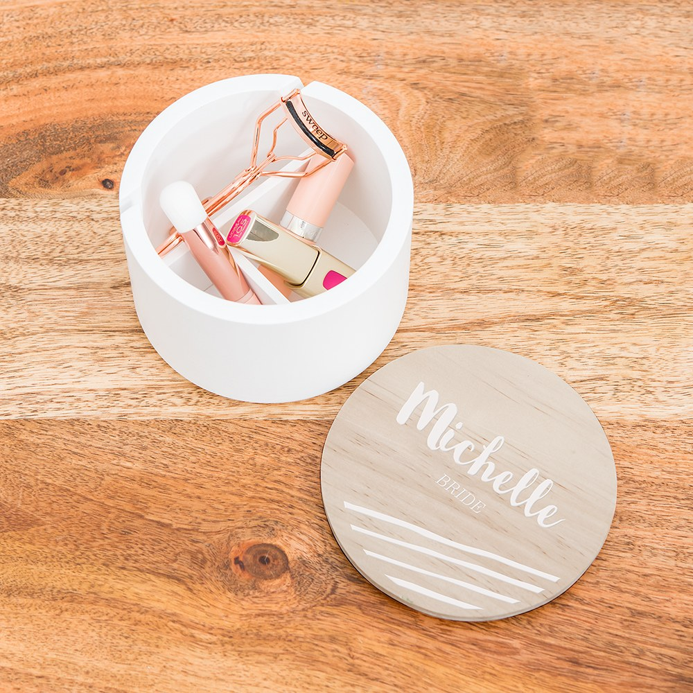 Large Personalized Round Wooden Jewelry Box - Script Font Print