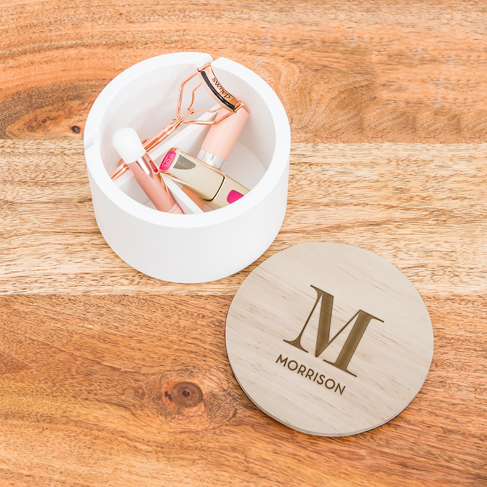 Large Personalized Round Wooden Jewelry Box - Modern Serif Initial Engraving