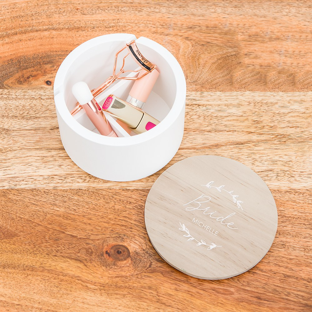Large Personalized Round Wooden Jewelry Box - Signature Script Print