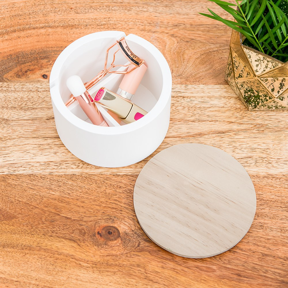 Large Round Wooden Jewelry Box - Natural