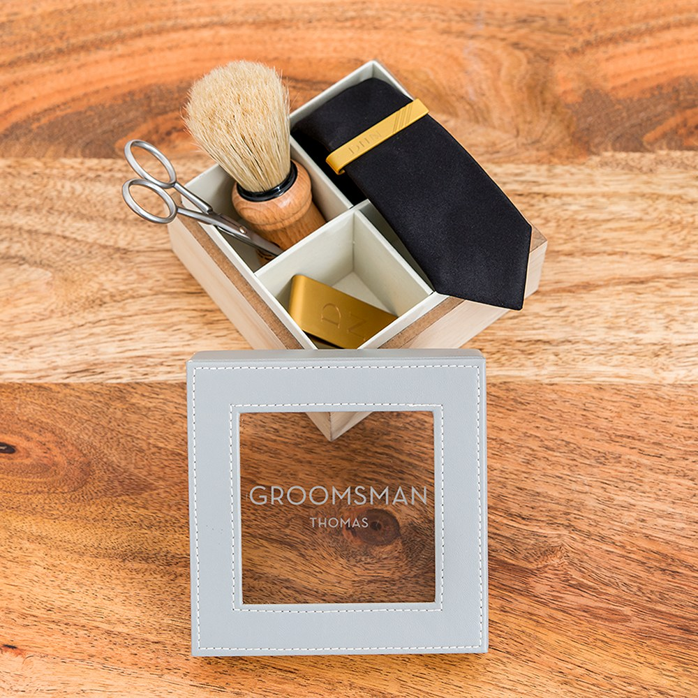 Wood and Faux Leather Keepsake Box With Glass Lid - Groomsman